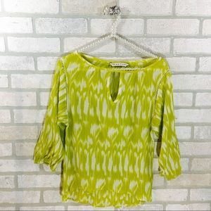 Trina Turk Chartreuse Print Silk Blend Blouse